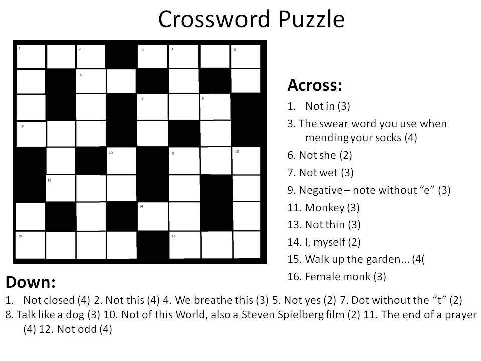 Crossword Courtesy Of Intern 3