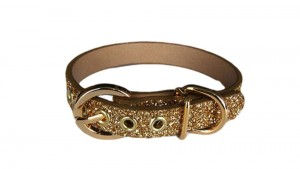 This classic leather dog collar updated with sumptuous gold glitter, from www.chacharocks.co.uk. Available in all sizes.